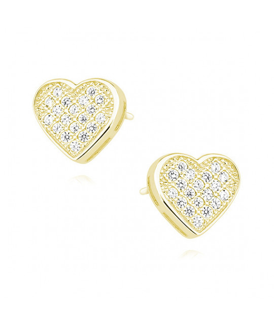 Yellow gold-plated silver earrings with zircon, Hearts