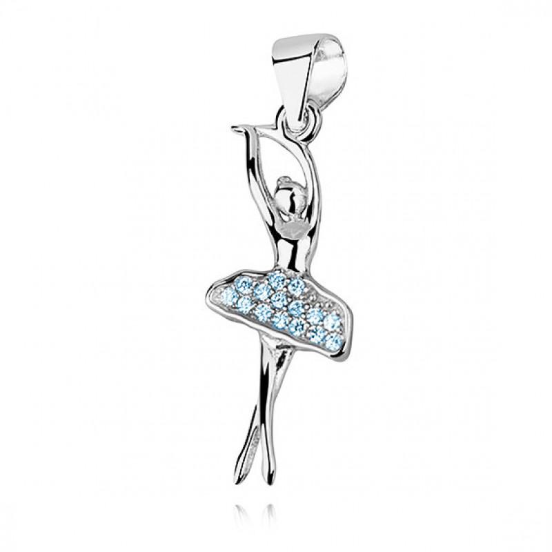 Silver pendant with aquamarine zircon, Ballerina
