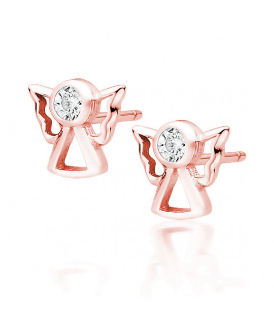 Rose gold-plated silver earrings with white zircon, Angels