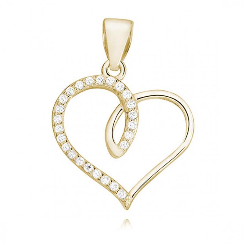 Auksuotas sidabro pakabukas su cirkoniu, Širdis