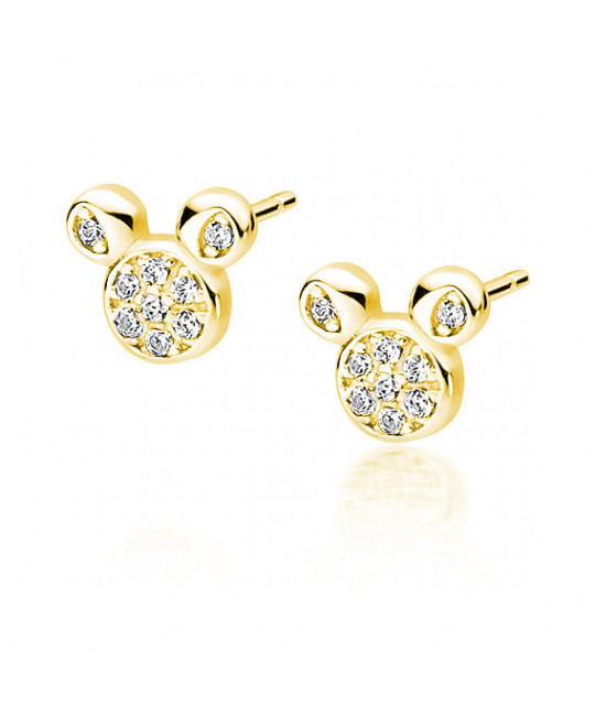 Silver gold-plated earrings with zircon, Mouse