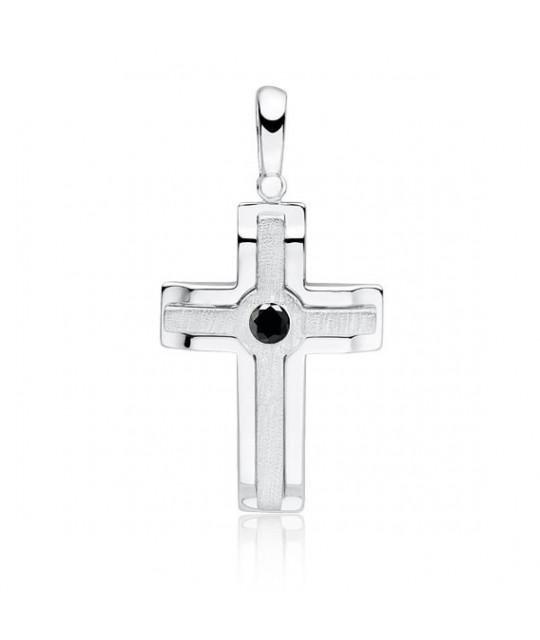Silver elegant pendant with black zircon, Cross