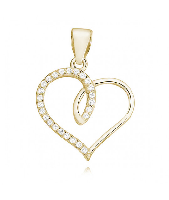 Silver gold-plated pendant with zircon, Heart