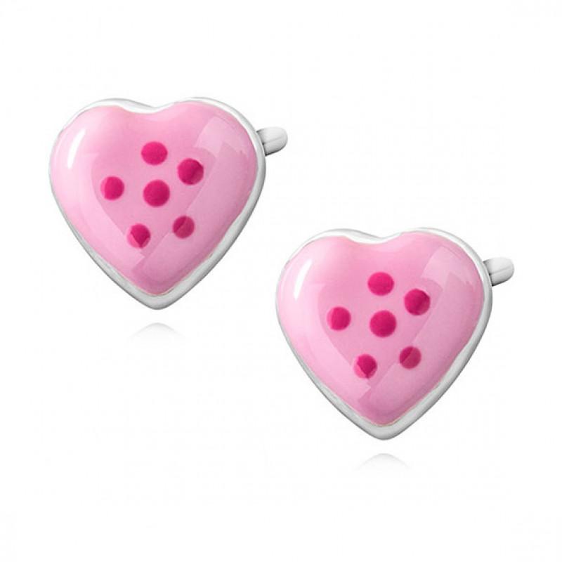 Silver earrings, Enamelled hearts