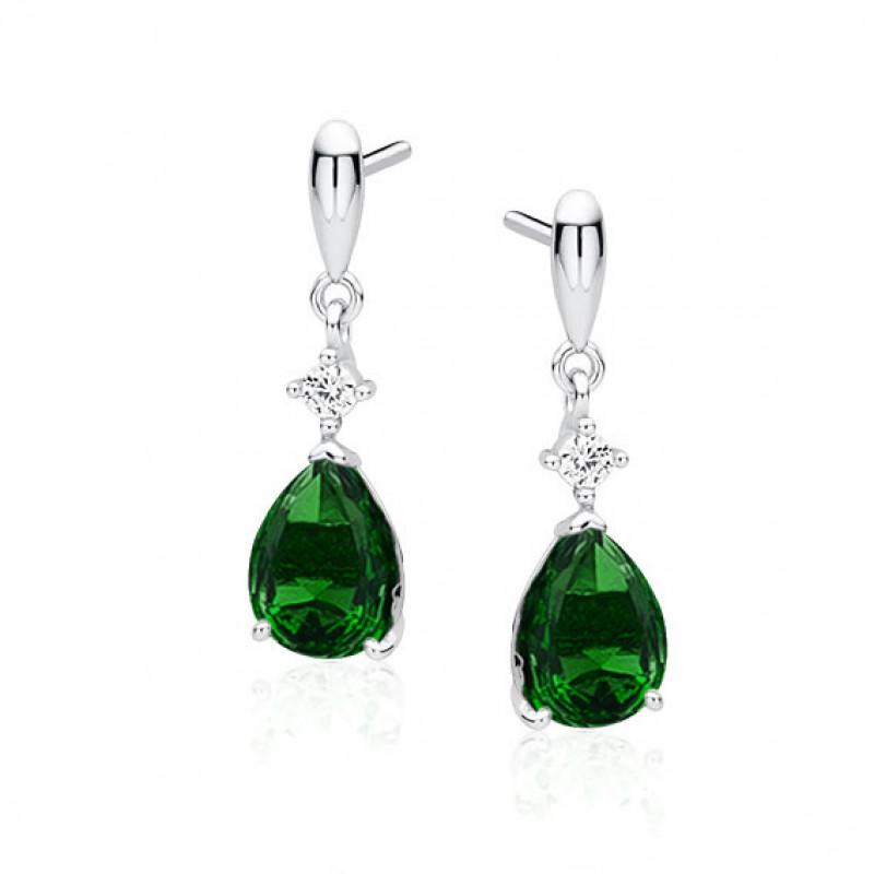 Hõbe kõrvarõngad smaragdist tsirkooniga, Teardrop