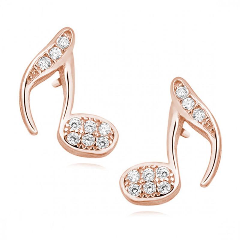 Auksiniai auskarai su rožiniu auksu su cirkoniu, Note