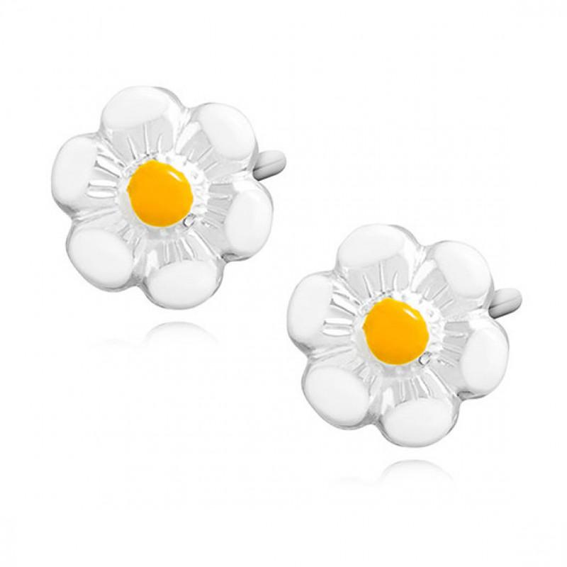 Серебряные серьги, Эмалированные цветы