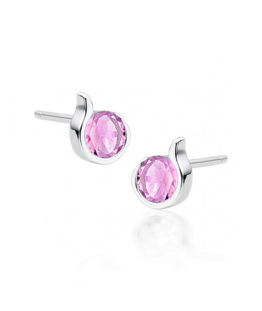 Silver earrings with pink zircon
