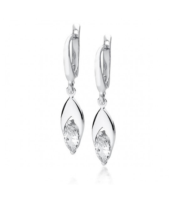 Silver earrings with white zirconia