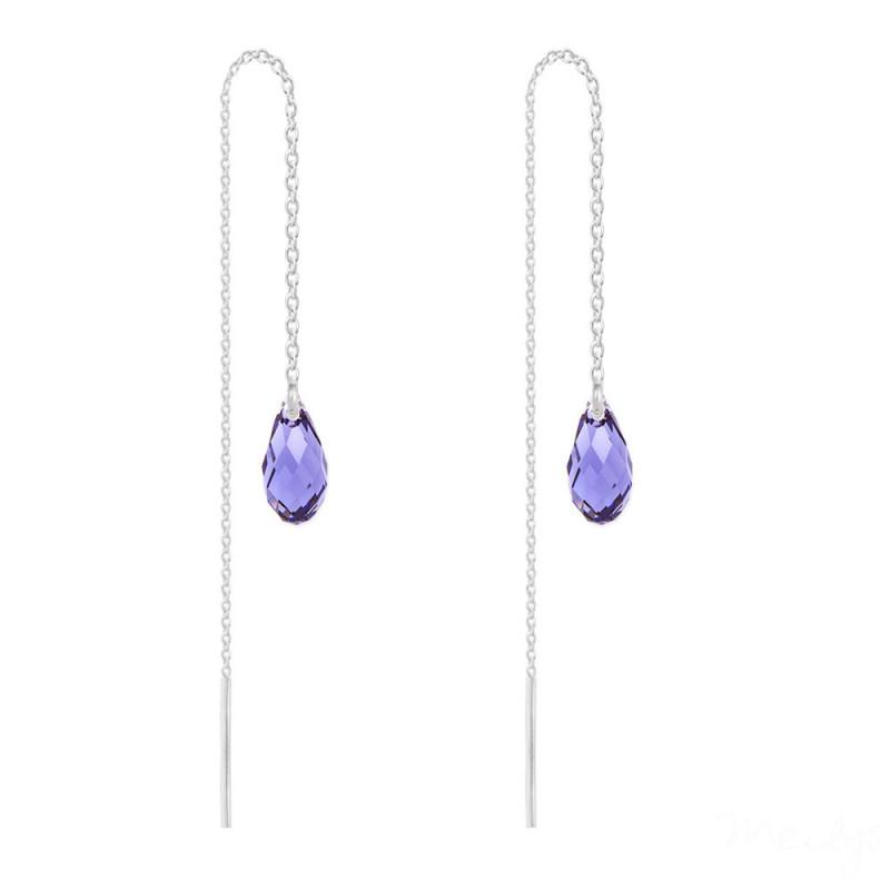 Silver Earrings Briolette Chain, Tanzanite