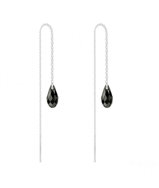 Silver Earrings Briolette Chain, Jet