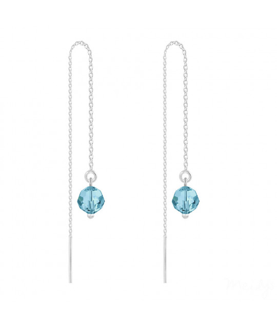Silver Earrings Round Bead Chain, Aquamarine