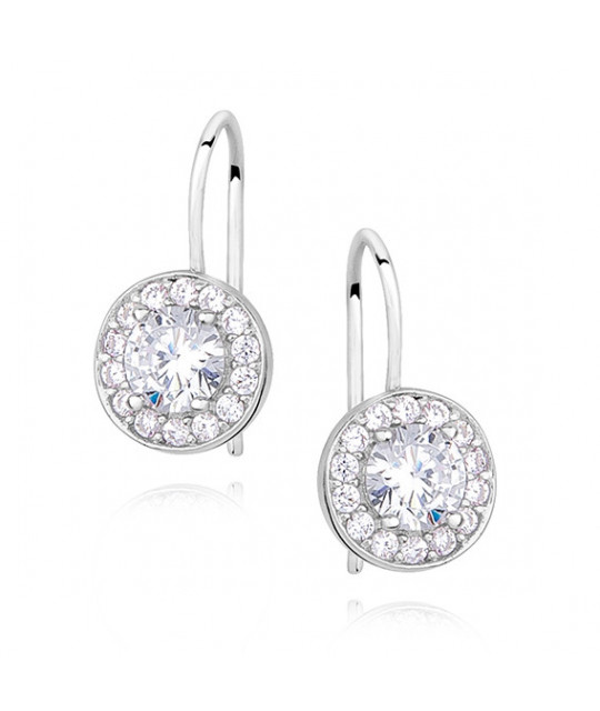 Silver earrings with white zircon
