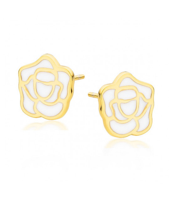 Yellow gold-plated silver earrings, Rose with white enamel