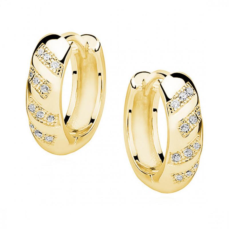 Серебряные серьги с покрытием из желтого золота с цирконом, Hoop