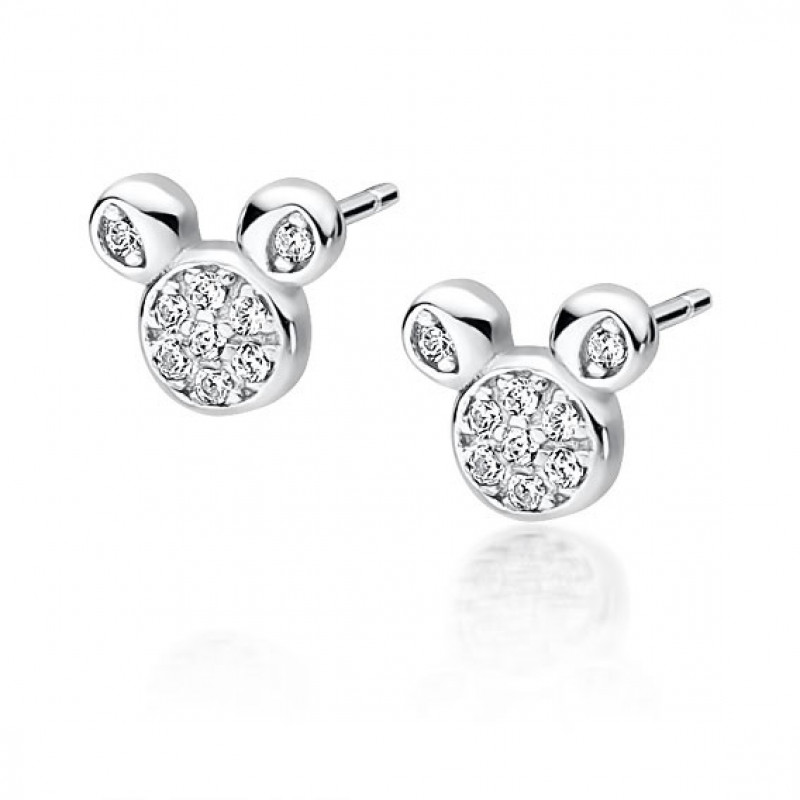 Silver earrings, Mouse with zircon