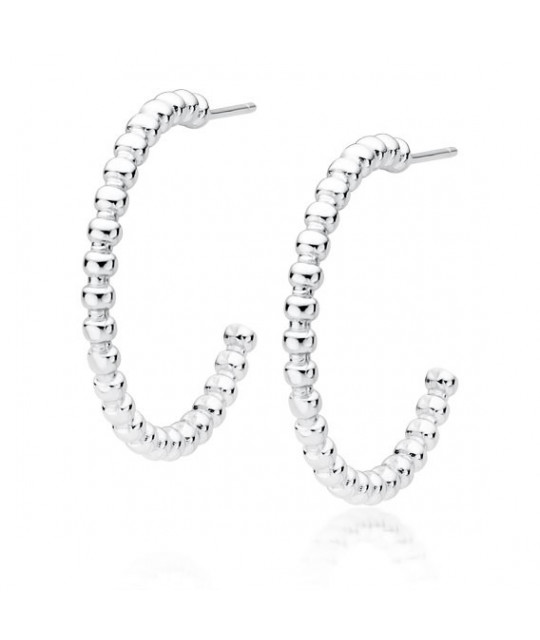 Silver earrings, Hoops circles with balls