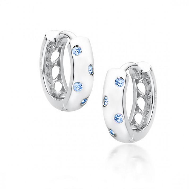 Серебряные серьги с цирконом Aquamarine, Hoop