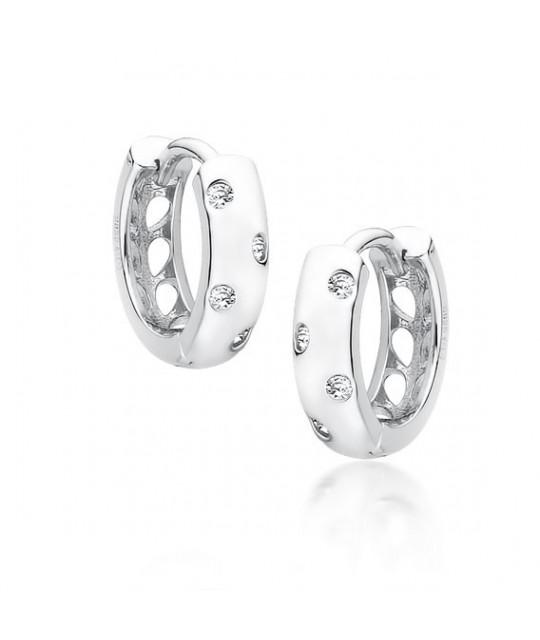 Silver earrings with zircon, Hoop