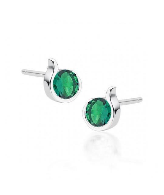 Silver earrings with emerald zircon