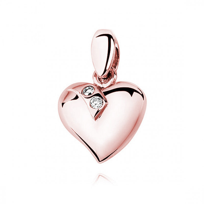 Серебряный позолоченный кулон, Сердце, украшенное двумя цирконами