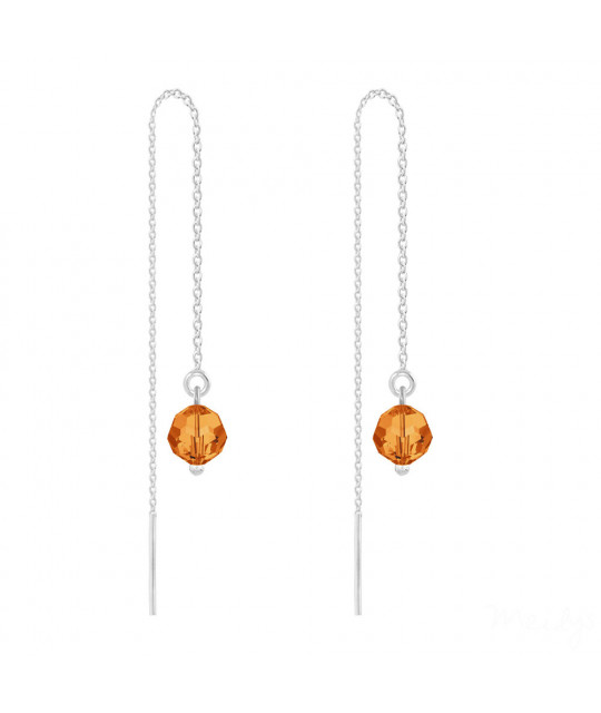 Silver Earrings Round Bead Chain, Tangerine
