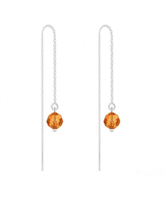 Sudraba auskari Round Bead Chain, Tangerine