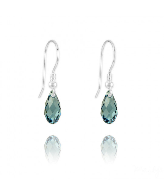 Silver Earrings Briolette, Denim Blue