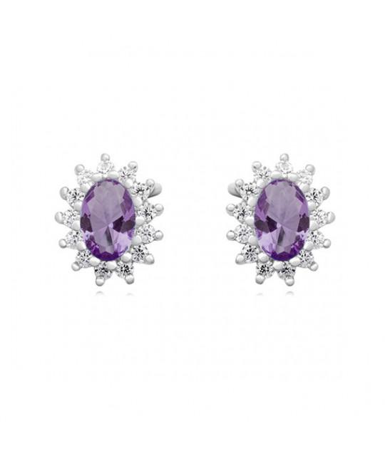 Silver earrings amethyst zircon