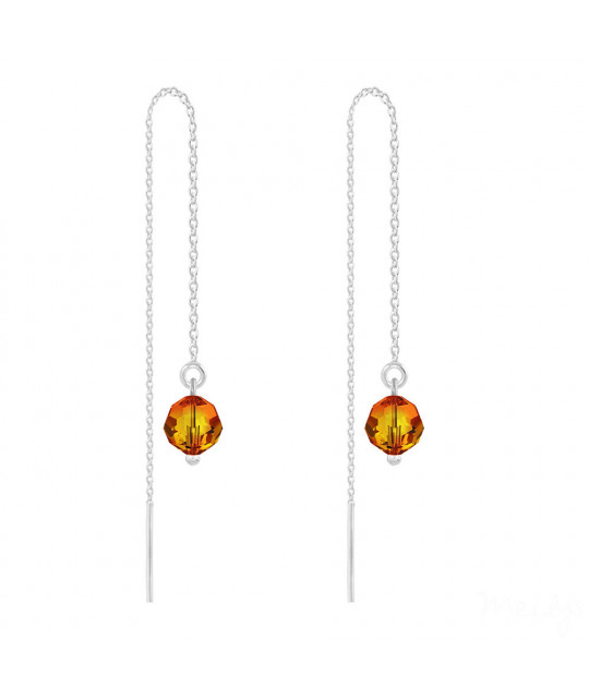 Silver Earrings Round Bead Chain, Fire Opal