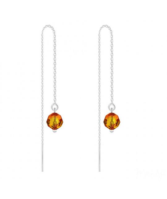 Sidabriniai auskarai Round Bead Chain, Fire Opal