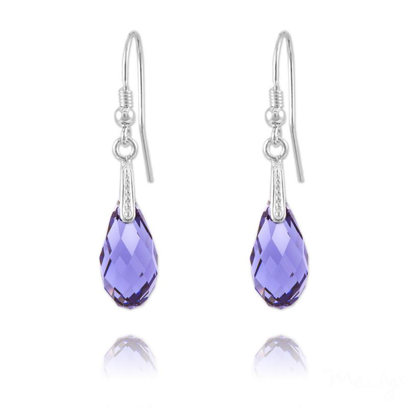 Silver Earrings Briolette, Tanzanite