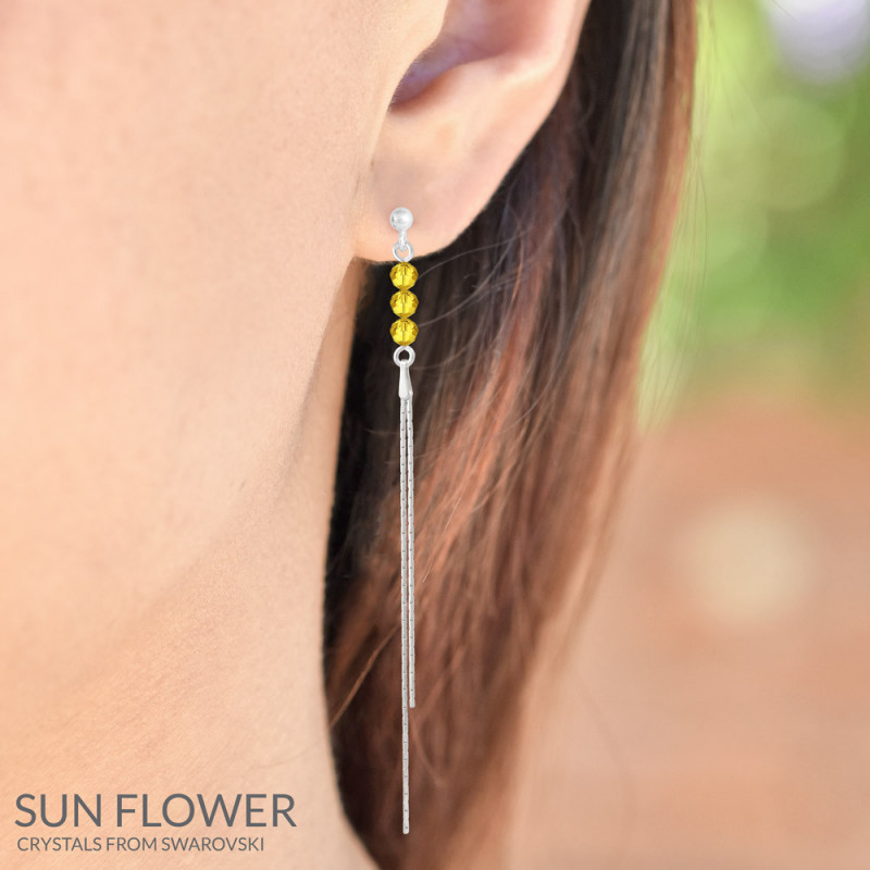 Silver Earrings Round Bead, Sun Flower
