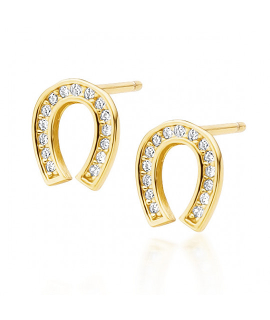 Yellow gold-plated silver earrings with zircon, Horseshoe
