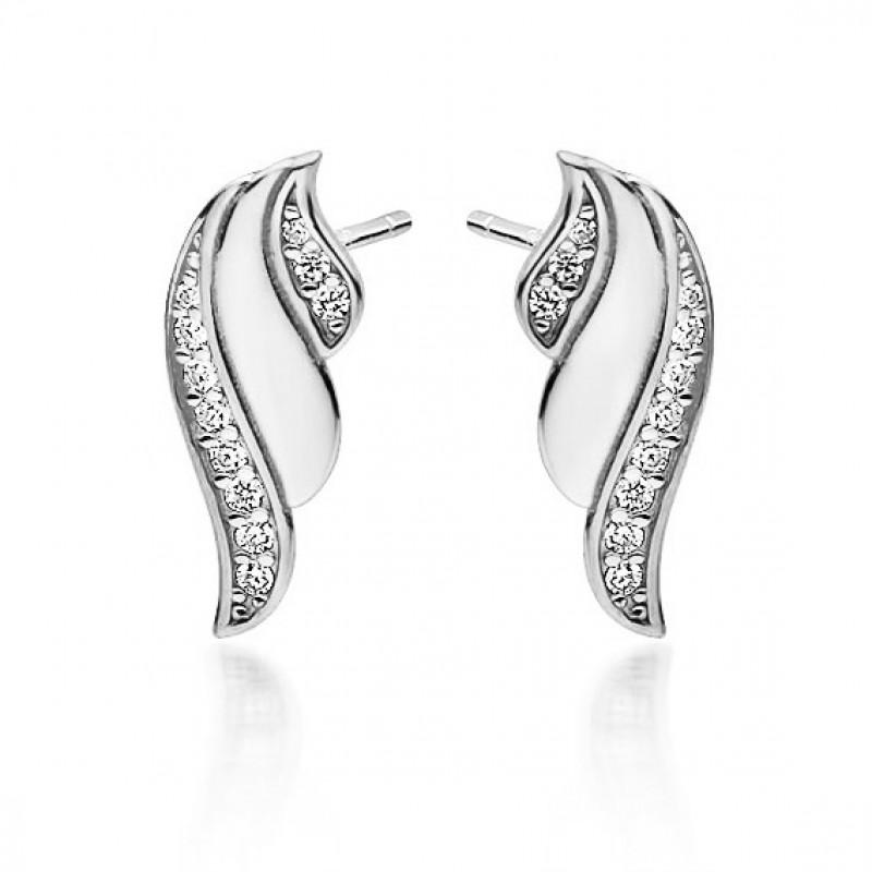 Silver earrings, Wings with white zircon