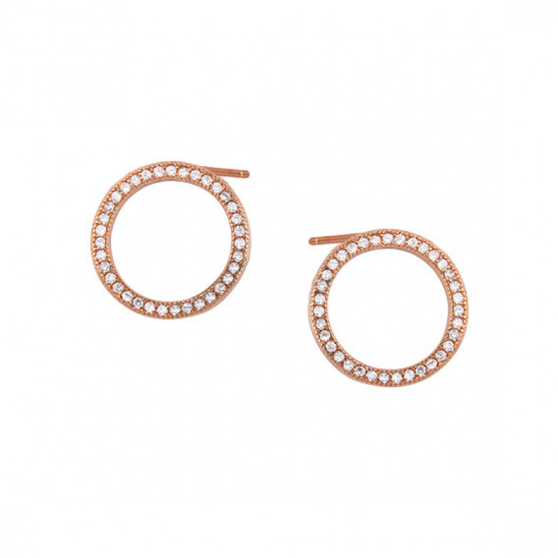 Rose gold-plated silver earrings, Cirlces with white zircon