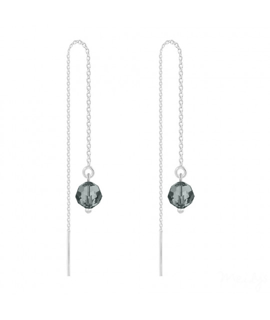 Silver Earrings Round Bead Chain, Black Diamond