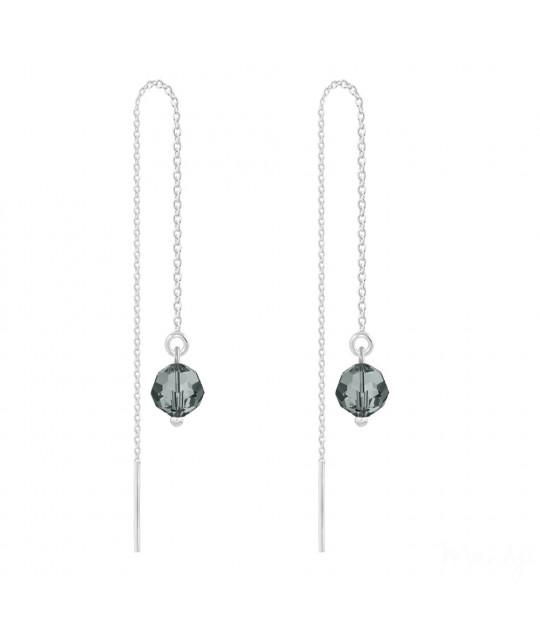 Sidabriniai auskarai Round Bead Chain, Black Diamond