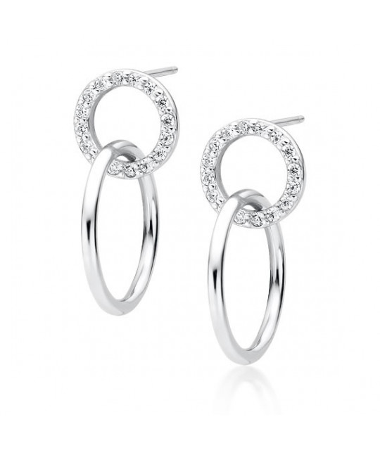 Silver earrings, Cirlces with zircon