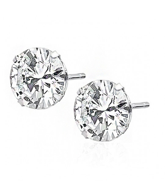 Silver earrings round with white zircon, 10 mm