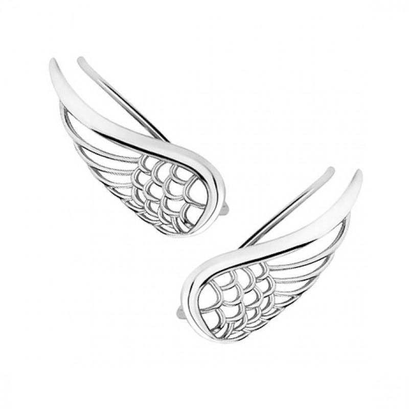 Серебряные серьги-манжеты, Крылья