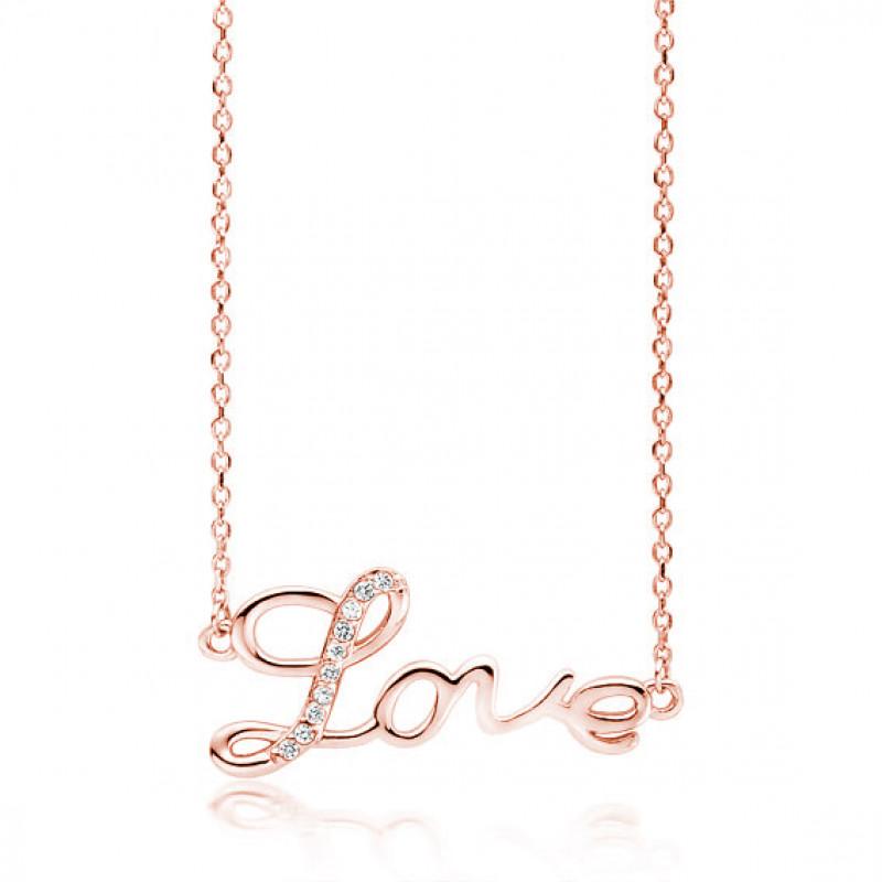 Vaaleanpunainen kullattu hopea kaulakoru, Love