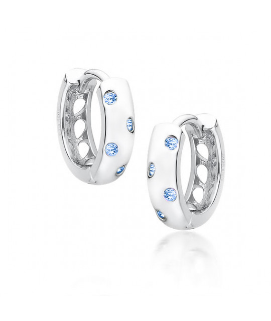 Silver earrings with Aquamarine zircon, Hoop