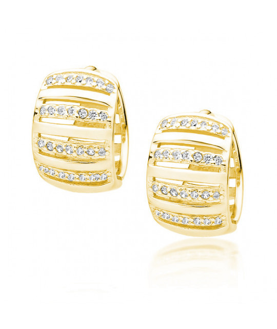 Silver yellow gold-plated earrings with zircon, Hoop