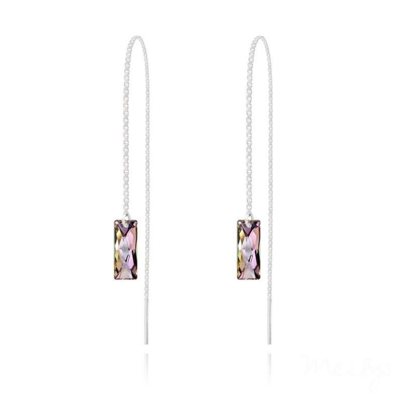 Silver Earrings Queen Baguette Chain, Vitrail Light