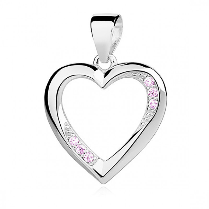 Silver pendant with light pink zircon, Heart