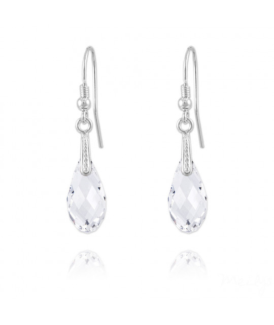 Silver Earrings Briolette, White