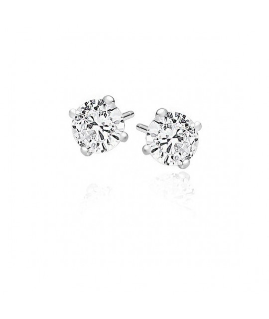 Silver earrings round with white zircon, 6 mm