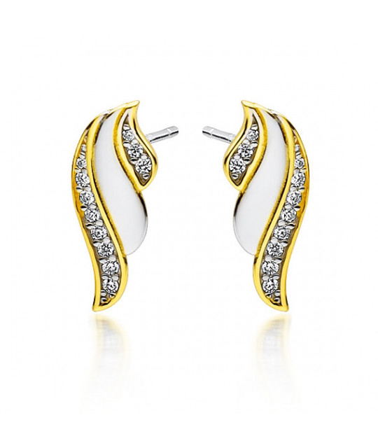 Silver gold-plated earrings with white zircon, Wings