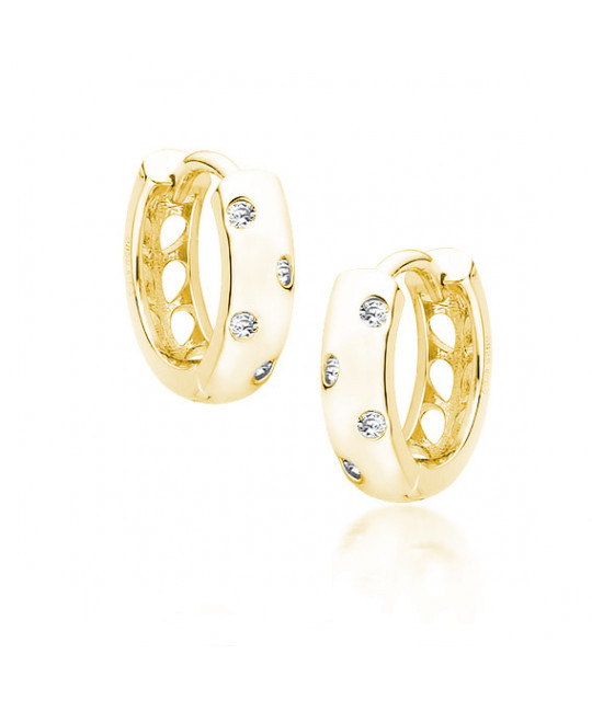 Silver gold-plated earrings with zircon, Hoop